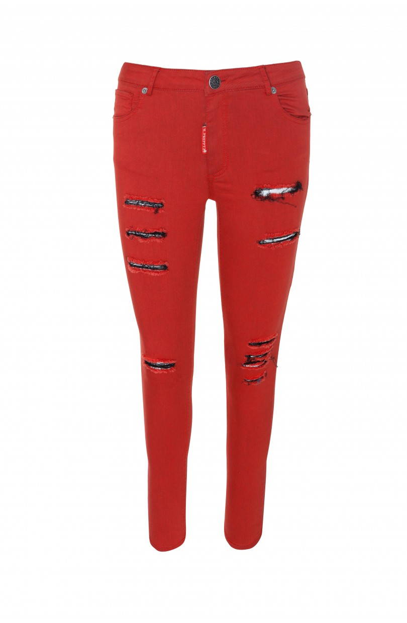 PANTALÓN 5 B ROTOS ROJO DE HIGHLY PREPPY